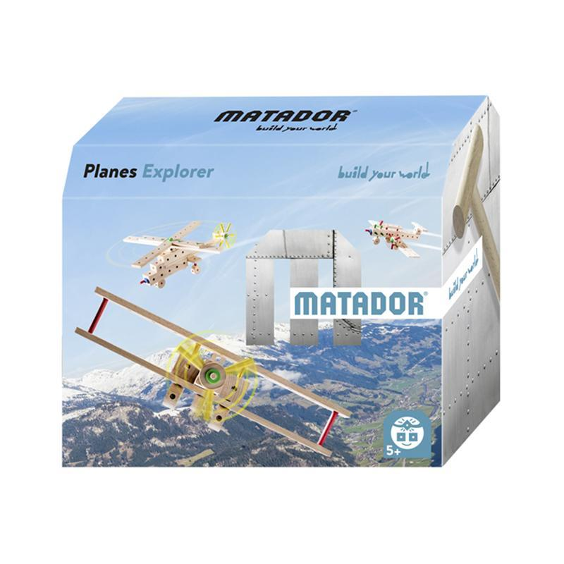 Set cuburi de constructie din lemn Explorer World Planes, +5 ani, Matador