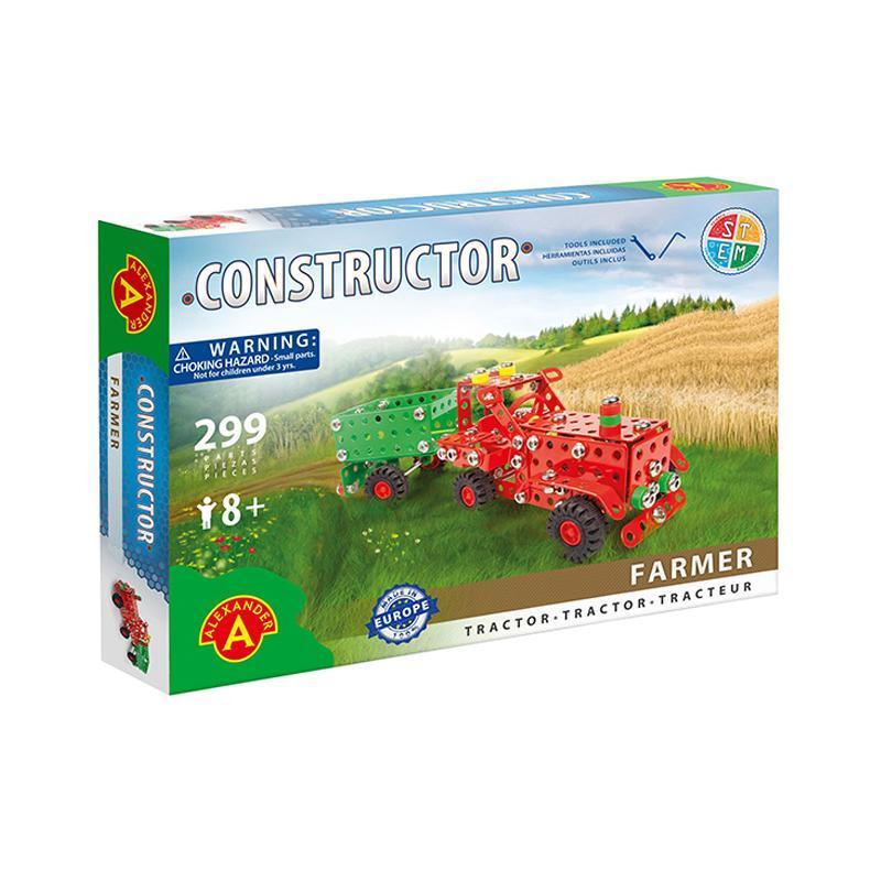 Set constructie 299 piese metalice Constructor Farmer Tractor cu remorca, Alexander