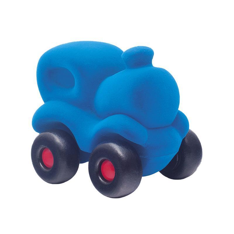 Jucarie cauciuc natural Trenul Choo-Choo, albastru, Rubbabu