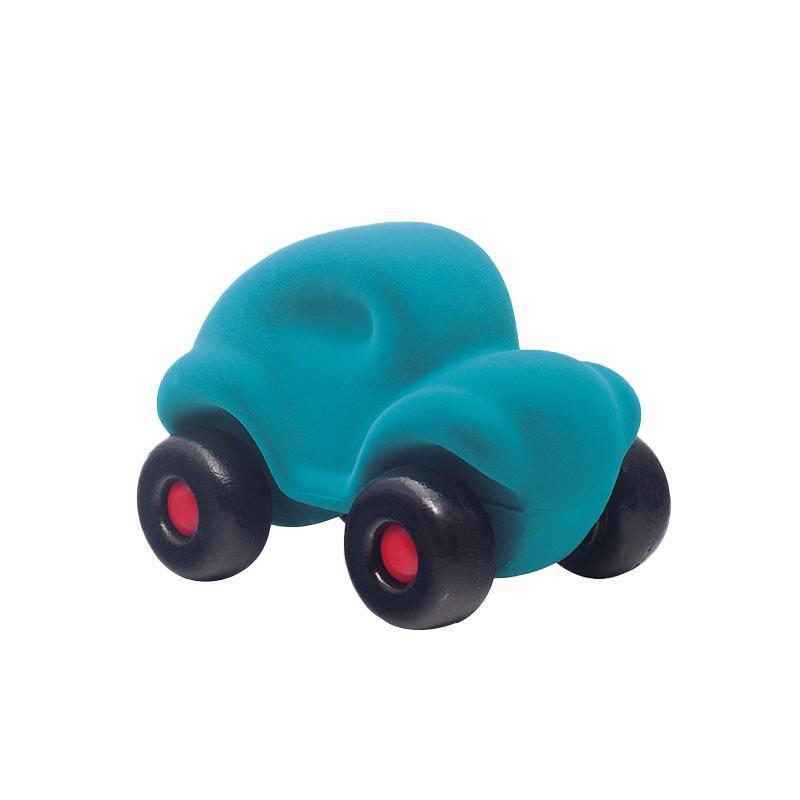 Jucarie cauciuc natural Masinuta, turquoise, Rubbabu