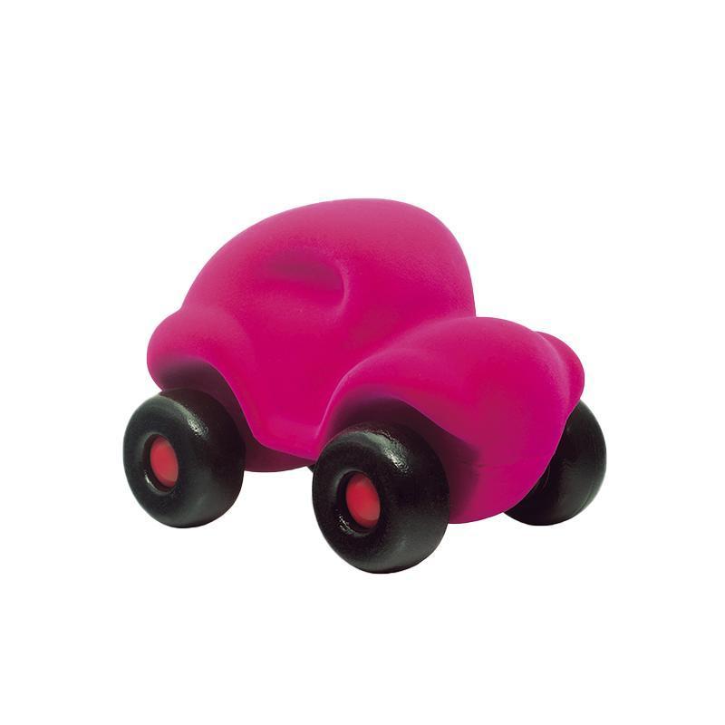 Jucarie cauciuc natural Masinuta, roz, Rubbabu