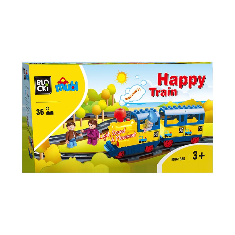 Set cuburi constructie mari Mubi Trenuletul vesel, 36 piese, Blocki