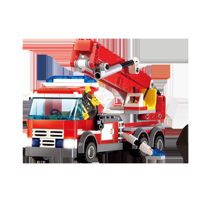 Set cuburi constructie MyFireBrigade Masina autoutilitara de pompieri cu scara, 244 piese, Blocki