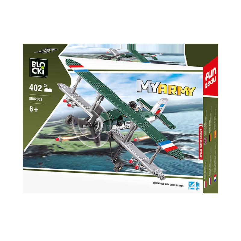 Set cuburi constructie MyArmy Avion militar biplan, 402 piese, Blocki