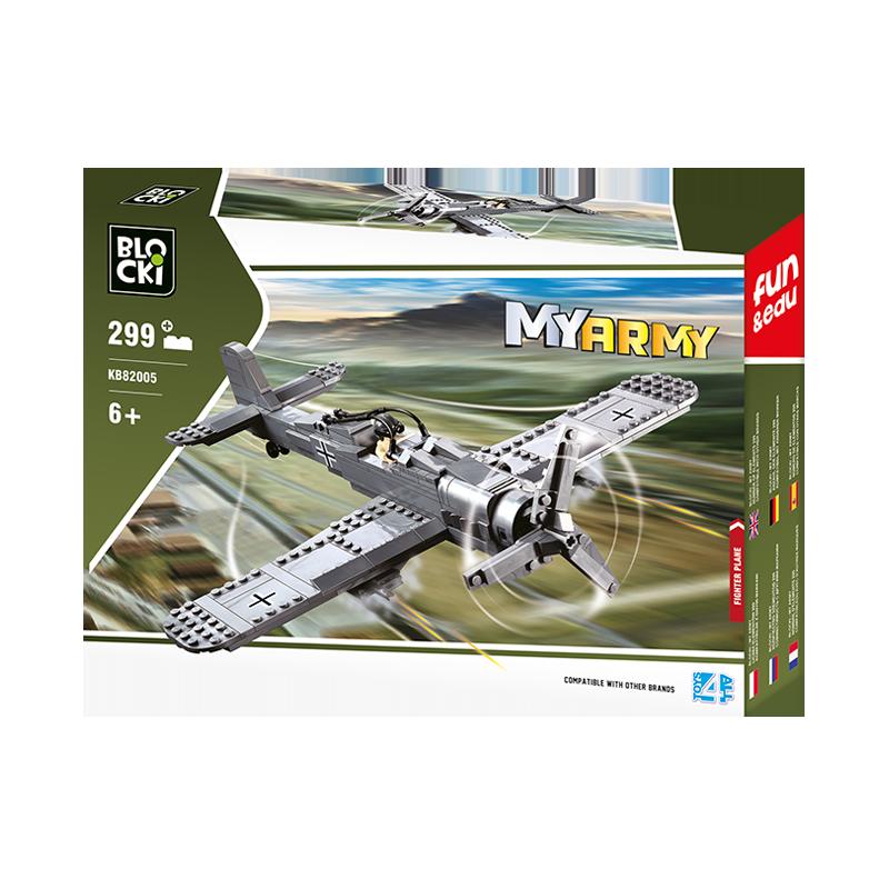 Set cuburi constructie MyArmy Avion militar de atac, 299 piese, Blocki