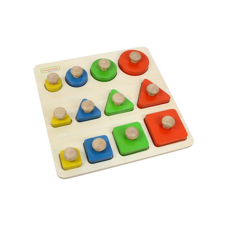 Puzzle sortator de forme geometrice dupa dimensiune, din lemn, +2 ani, Masterkidz, pentru gradinite imagine