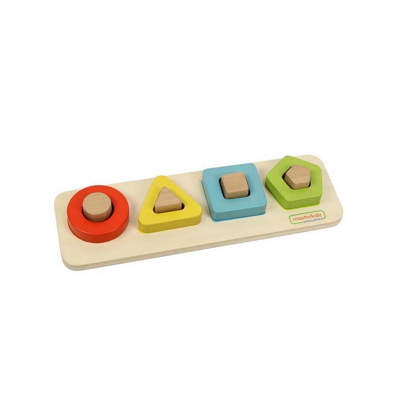 Puzzle sortator 4 forme geometrice (contur), din lemn, +2 ani, Masterkidz imagine