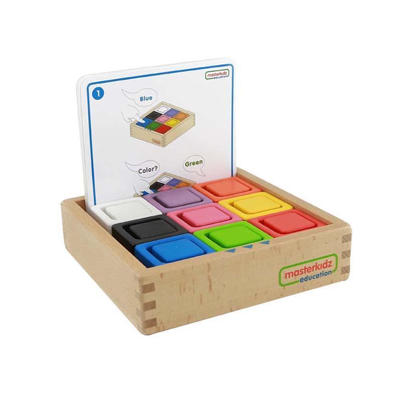 Set educativ cuburi si patrate-recipient, din lemn,+2 ani, Masterkidz, pentru gradinite