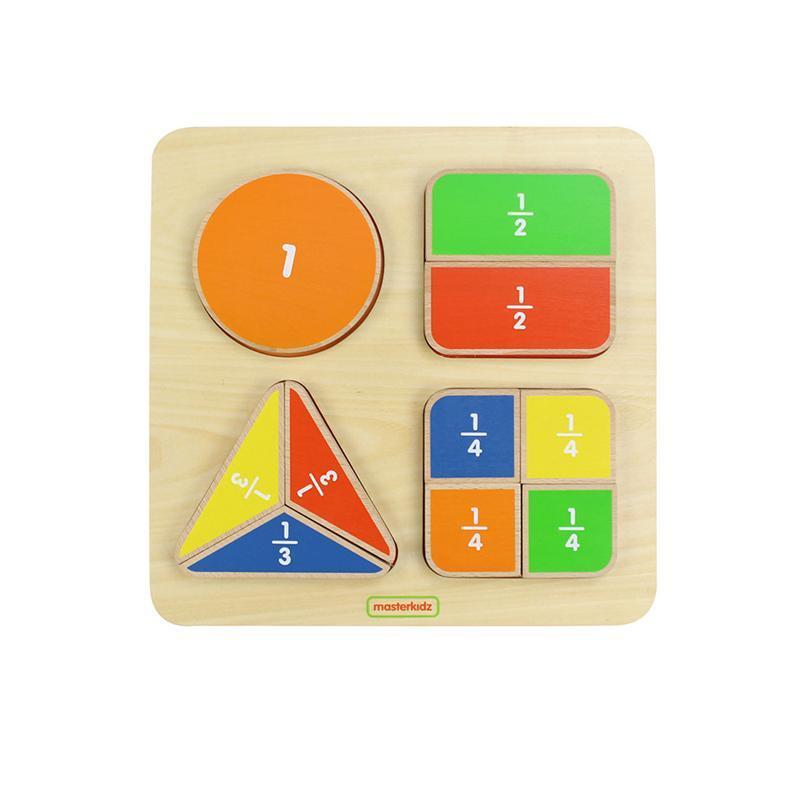Puzzle Fractiile (forme geometrice), din lemn, +2 ani, Masterkidz imagine