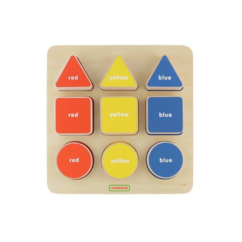 Puzzle sortator de forme geometrice si culori, din lemn, +2 ani, Masterkidz imagine