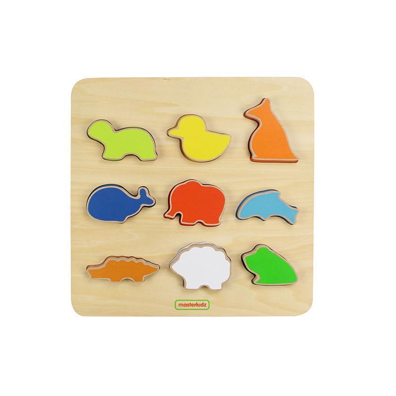 Puzzle sortator de forme (animale), din lemn, +2 ani, Masterkidz imagine