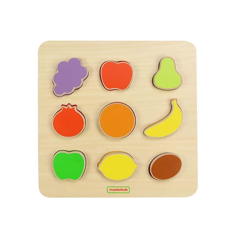 Puzzle sortator de forme (fructe), din lemn, +2 ani, Masterkidz imagine