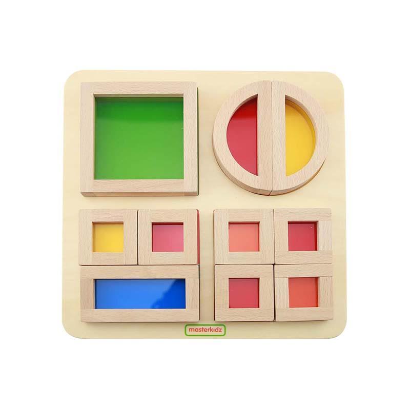 Joc educativ Cuburi Culori Transparente, din lemn, +2 ani, Masterkidz