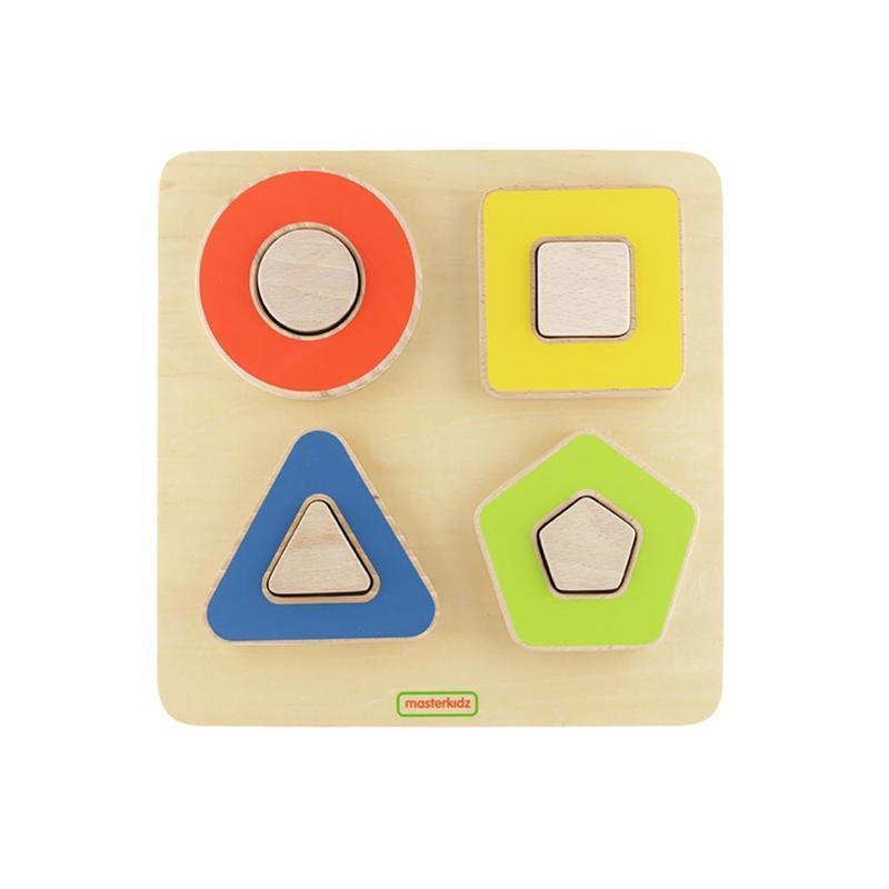 Puzzle sortator de forme geometrice pline si contur, +2 ani, Masterkidz imagine