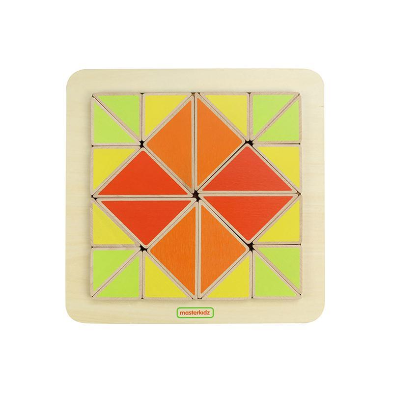 Joc creativ Mozaic de triunghiuri, din lemn, +18 luni, Masterkidz