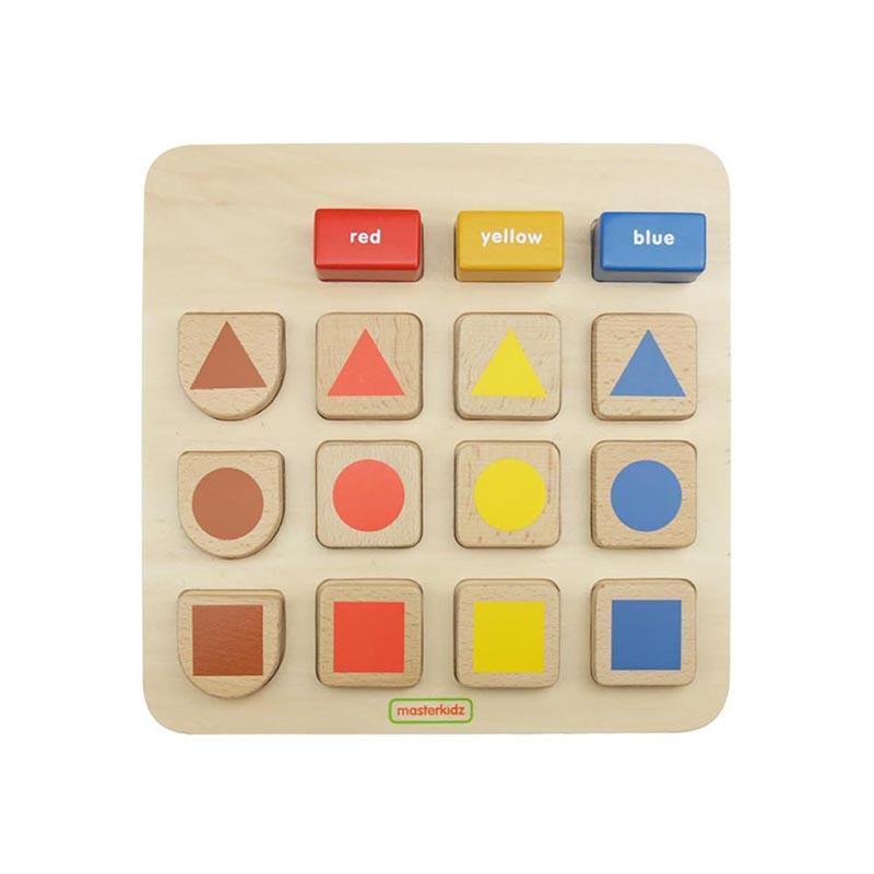 Puzzle sortator dupa forma si culoare, din lemn, +2 ani, Masterkidz imagine