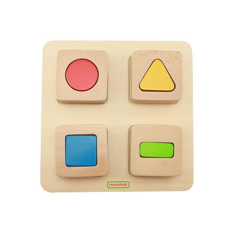 Puzzle sortator forme geometrice, din lemn, +2 ani, Masterkidz imagine
