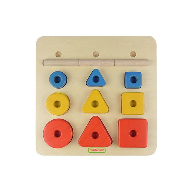 Puzzle sortator de forme geometrice dupa forma, dimensiune si culoare, din lemn, +2 ani, Masterkidz imagine