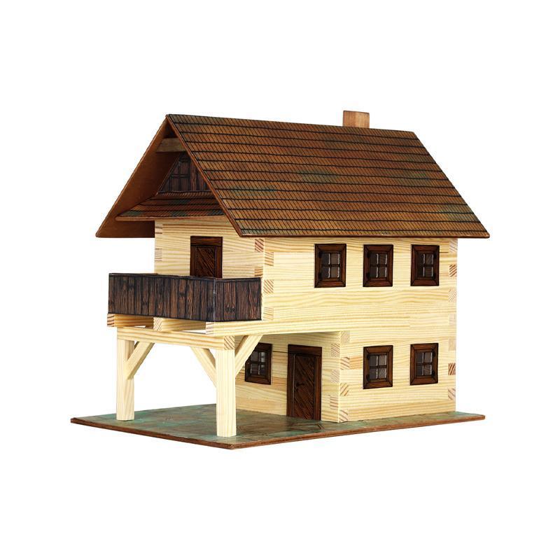 Set constructie arhitectura Primarie medievala, 194 piese din lemn, Walachia