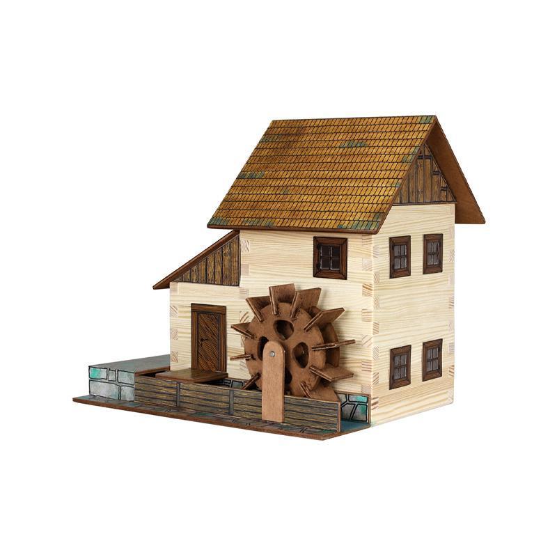 Set constructie arhitectura Moara de apa, 196 piese din lemn, Walachia