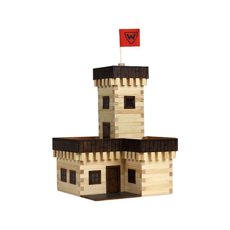 Set constructie arhitectura Castel de vara, 296 piese din lemn, Walachia