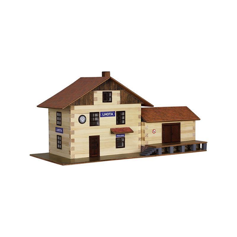 Set constructie arhitectura Gara, 213 piese din lemn, Walachia