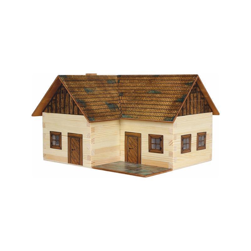 Set constructie arhitectura Casuta ideala, 154 piese din lemn, Walachia