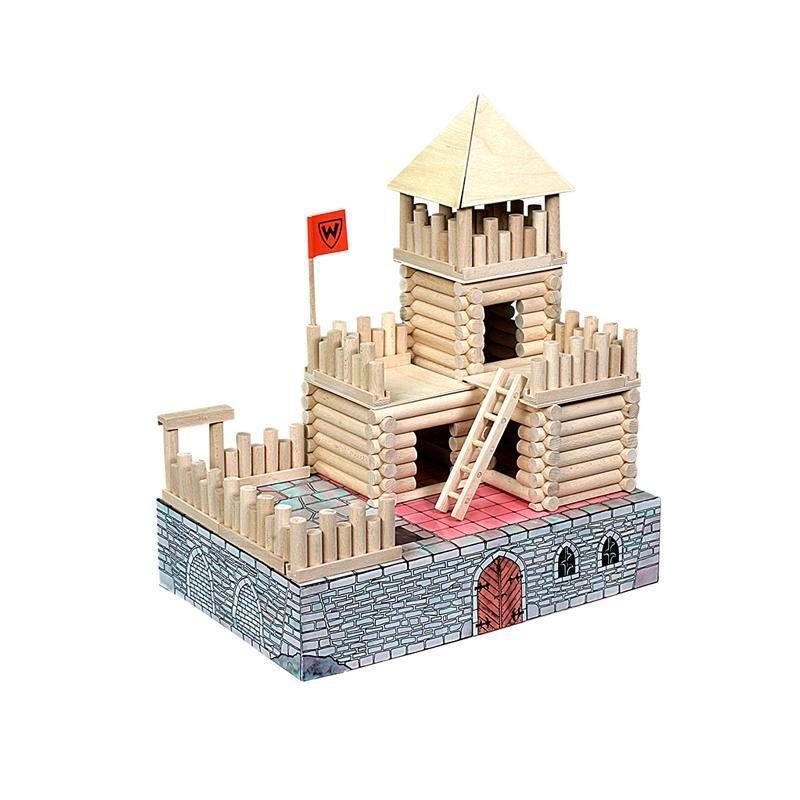 Set constructie arhitectura Vario Fort, 194 piese din lemn, Walachia