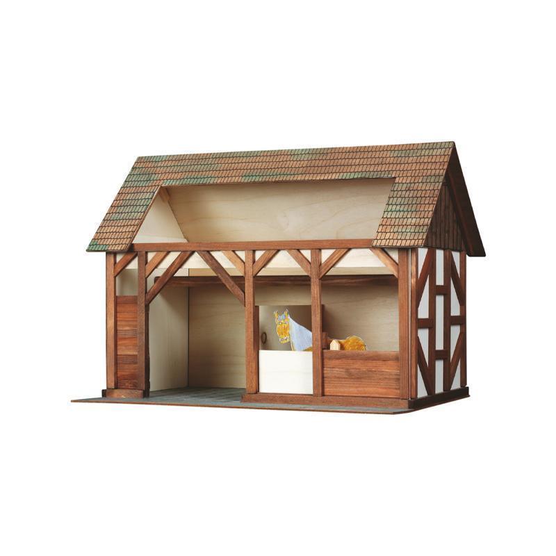 Set constructie arhitectura Grajdul animalelor, 154 piese din lemn, Walachia