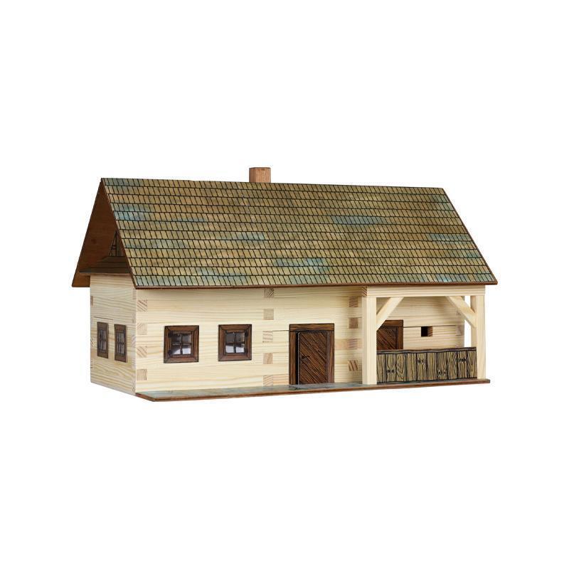 Set constructie arhitectura Casa de la tara, 174 piese din lemn, Walachia