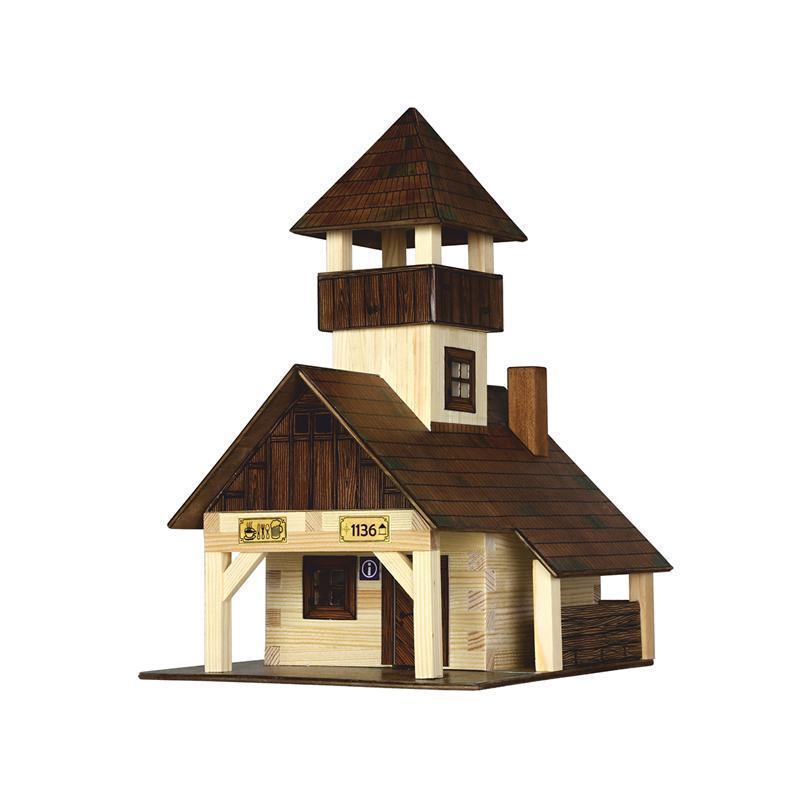 Set constructie arhitectura Refugiu montan, 135 piese din lemn, Walachia