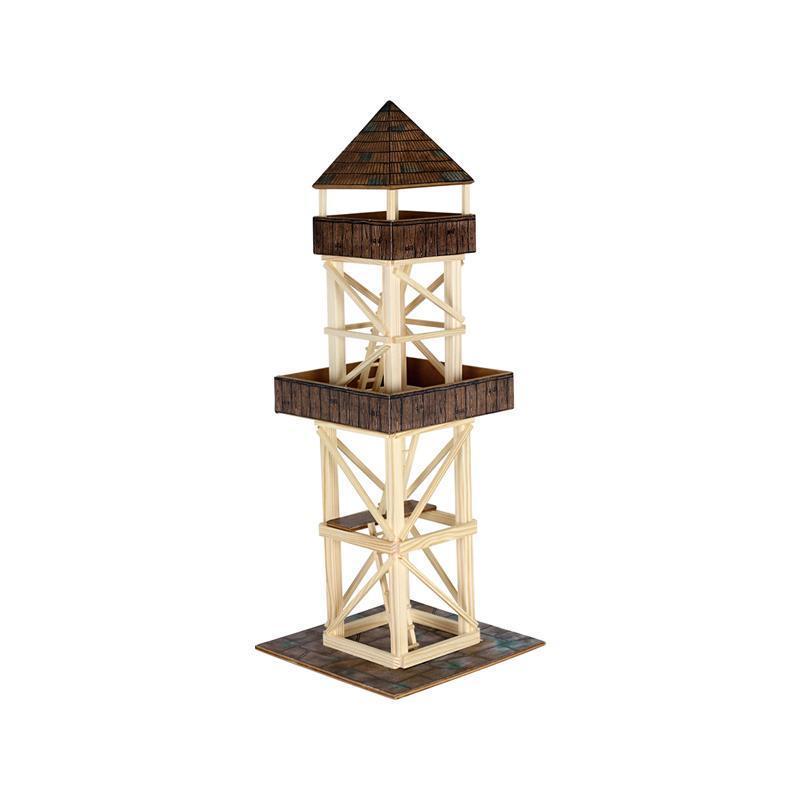 Set constructie arhitectura Turn de observatie, 124 piese din lemn, Walachia