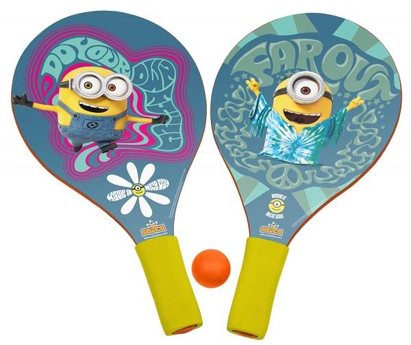 Set 2 palete pentru plaja Saica Minions din lemn cu minge inclusa pentru copii
