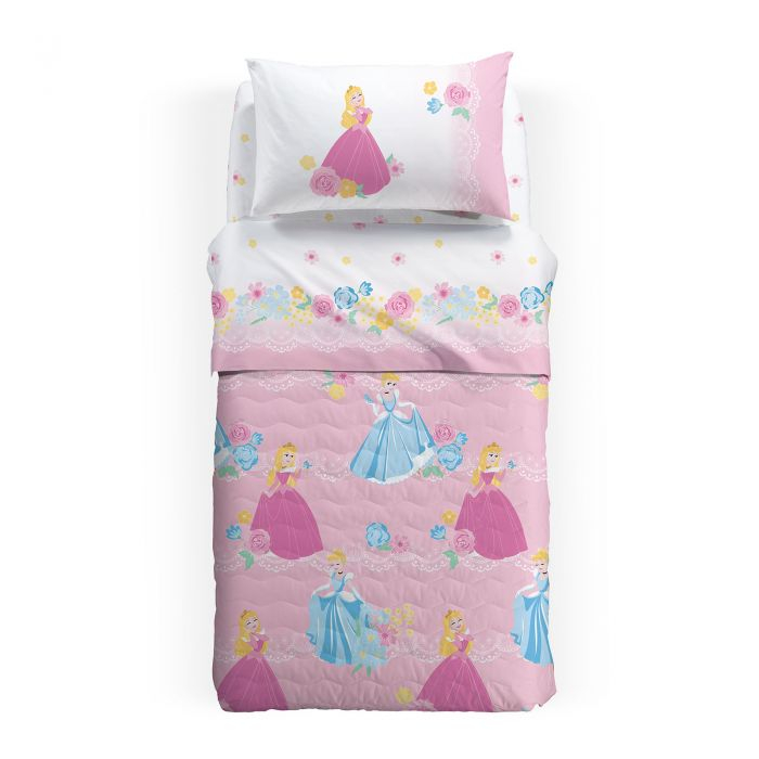 Lenjerie pat Princess Romantic matlasata 160x280 cm roz