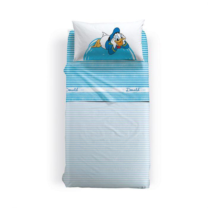 Lenjerie pat Donald Duck 170x270 cm alb