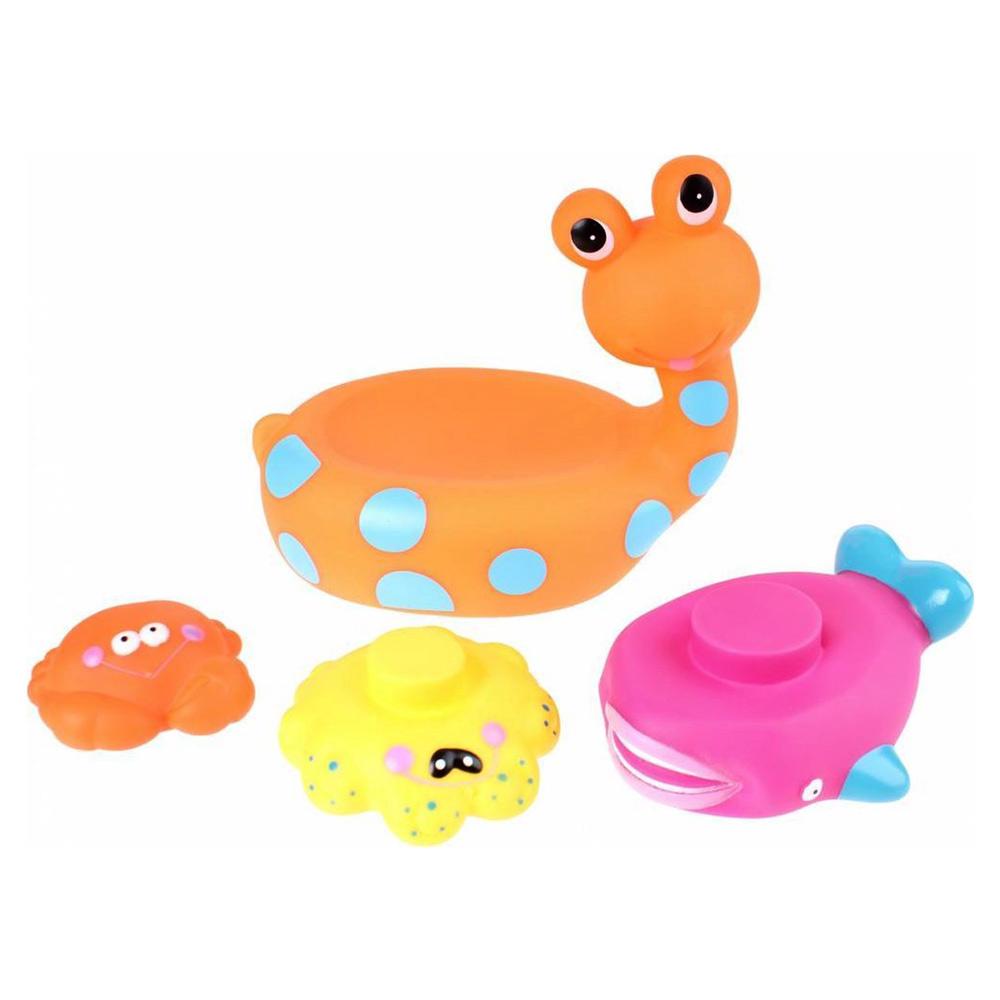 Jucarie de baie Melc cu 3 Animale Marine Eddy Toys Portocaliu imagine