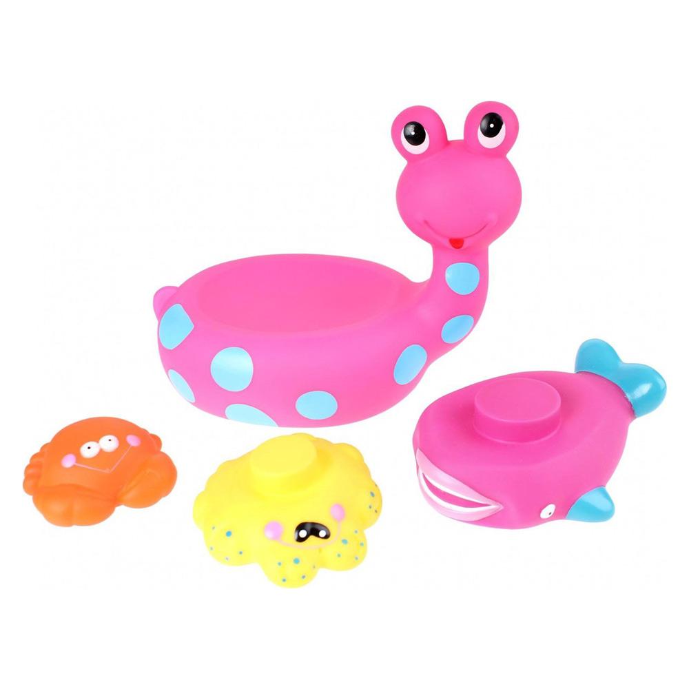 Jucarie de baie Melc cu 3 Animale Marine Eddy Toys Roz