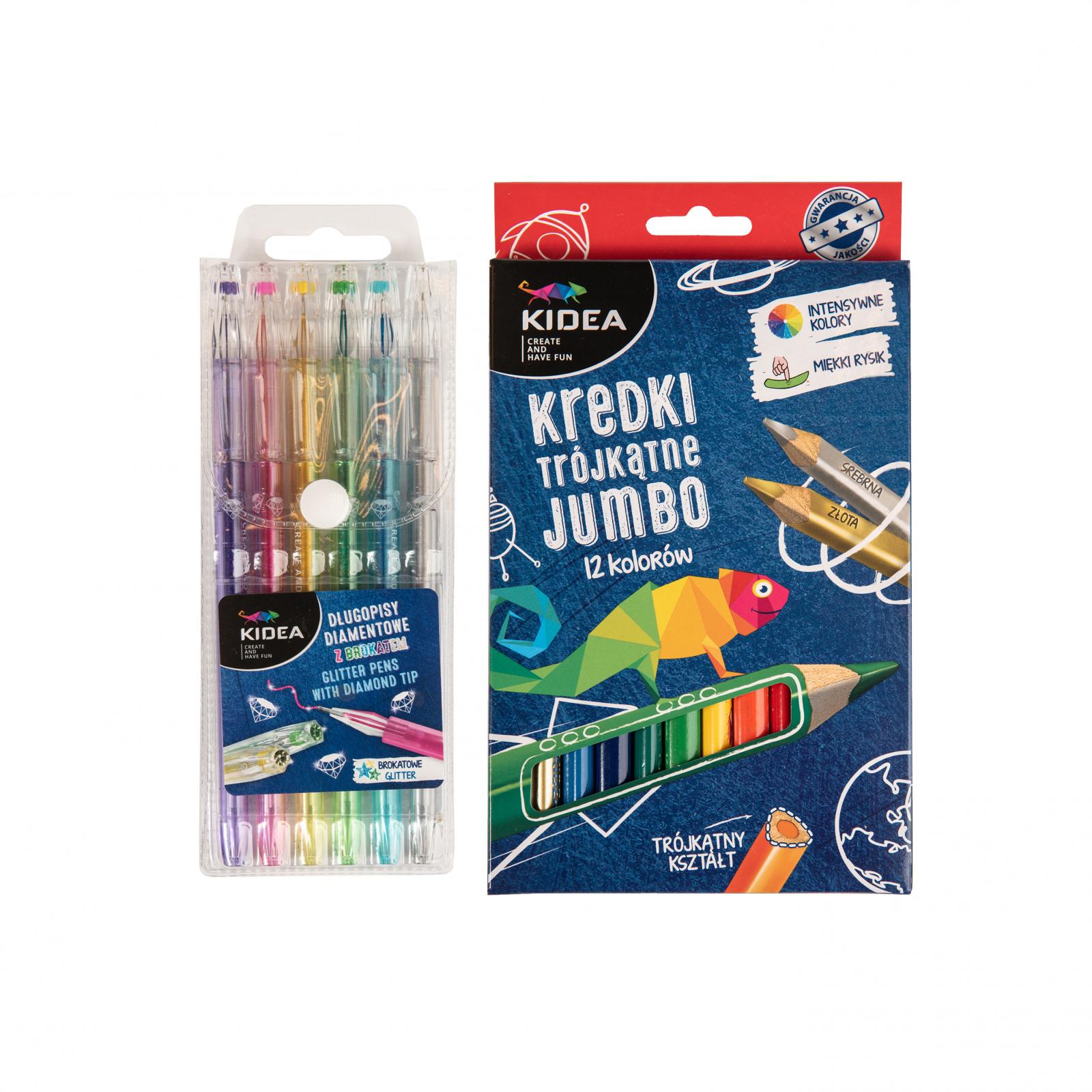 Set 6 pixuri colorate cu gel si 12 creioane colorate, Kidea imagine