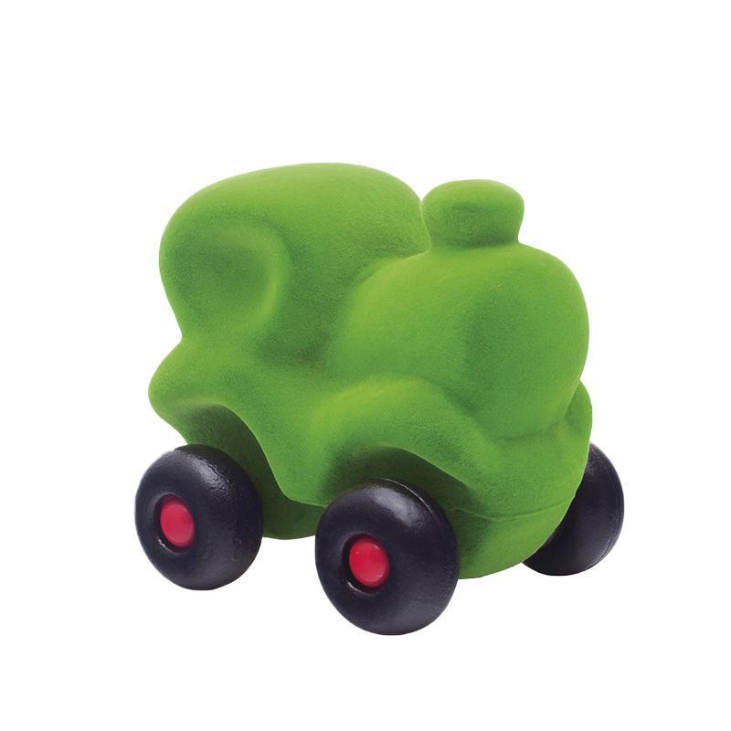 Jucarie cauciuc natural Trenuletul Choo-Choo, verde, medie, Rubbabu
