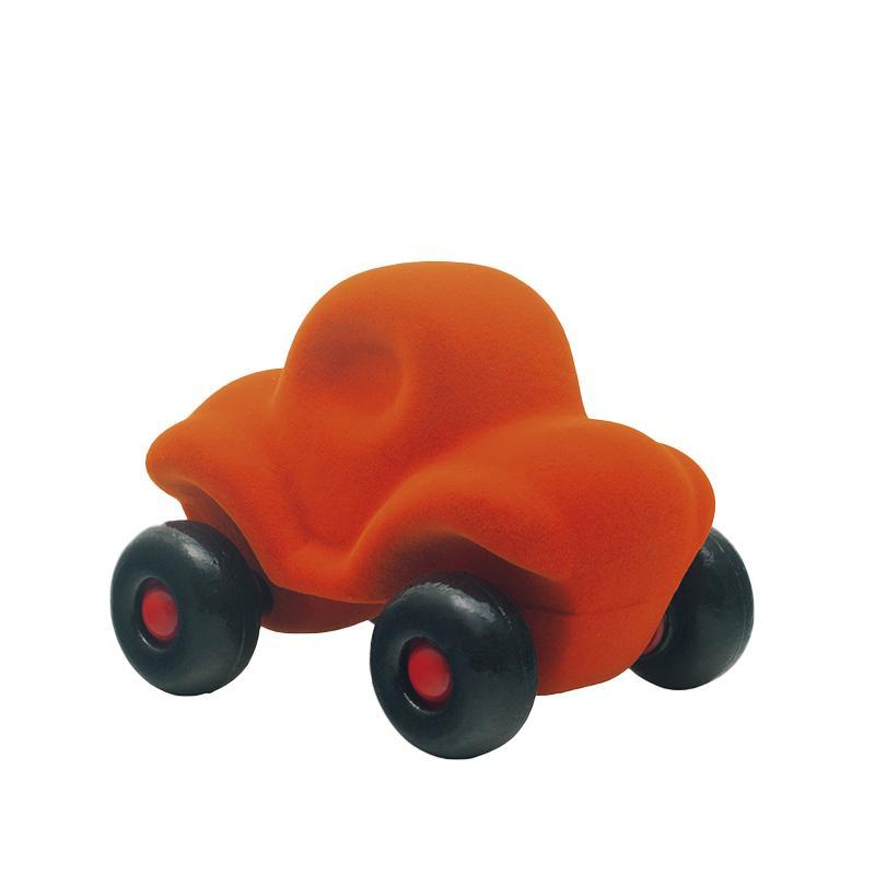 Jucarie cauciuc natural Masinuta haioasa, medie, portocalie, Rubbabu