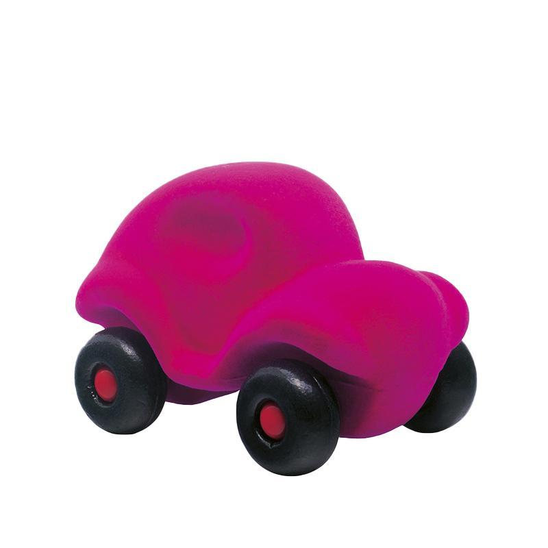 Jucarie cauciuc natural Masinuta, medie, roz, Rubbabu