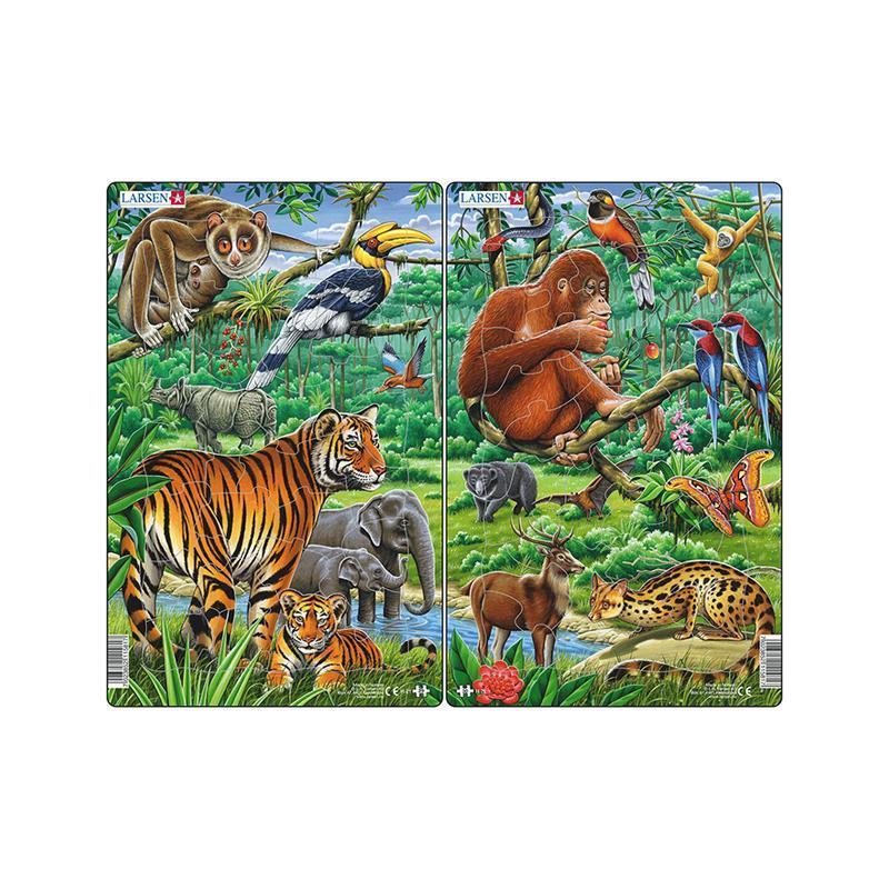 Set 2 Puzzle midi Jungla asiatica cu Maimute, Tigri, orientare tip portret, 30 piese, Larsen