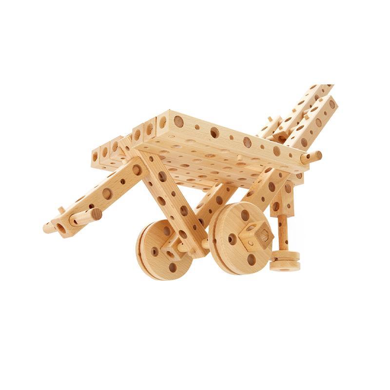 Set constructie mecanica din lemn Polytechnical Large, 300 piese, Pony
