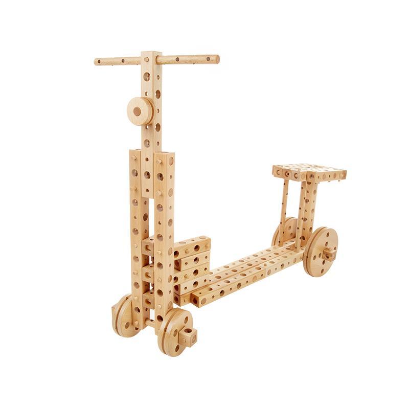 Set constructie mecanica din lemn Polytechnical Small, 224 piese, Pony