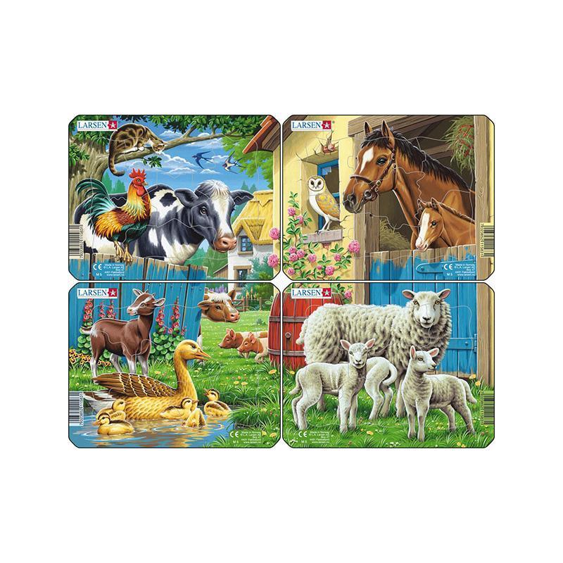 Set 4 Puzzle mini Animale de la ferma cu Oi, Rate, Vaci, Cai, orientare tip vedere, 7 piese, Larsen