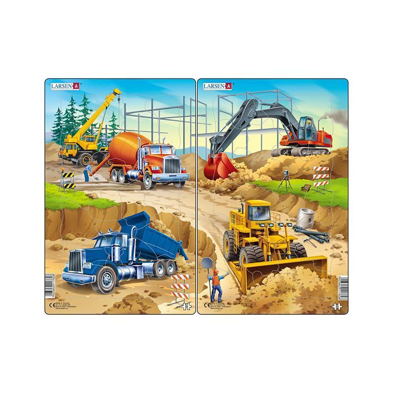 Set 2 Puzzle midi Constructii II, camion, macara, betoniera si excavator, buldozer, orientare tip portret, 20 piese, Larsen