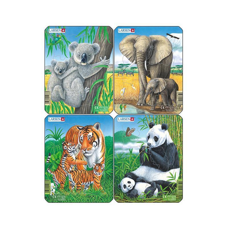 Set 4 Puzzle mini Animale exotice cu Elefanti, Koala, Panda, Tigri, orientare tip portret, 8 piese, Larsen