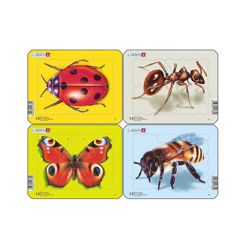 Set 4 Puzzle mini Insecte cu Albina, Buburuza, Fluture, Furnica, orientare tip vedere, 5 piese, Larsen