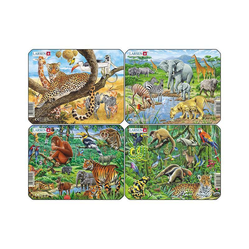 Set 4 Puzzle mini Animale exotice cu Gheparzi, Elefanti, Papagali, Tigir, orientare tip vedere, 11 piese, Larsen