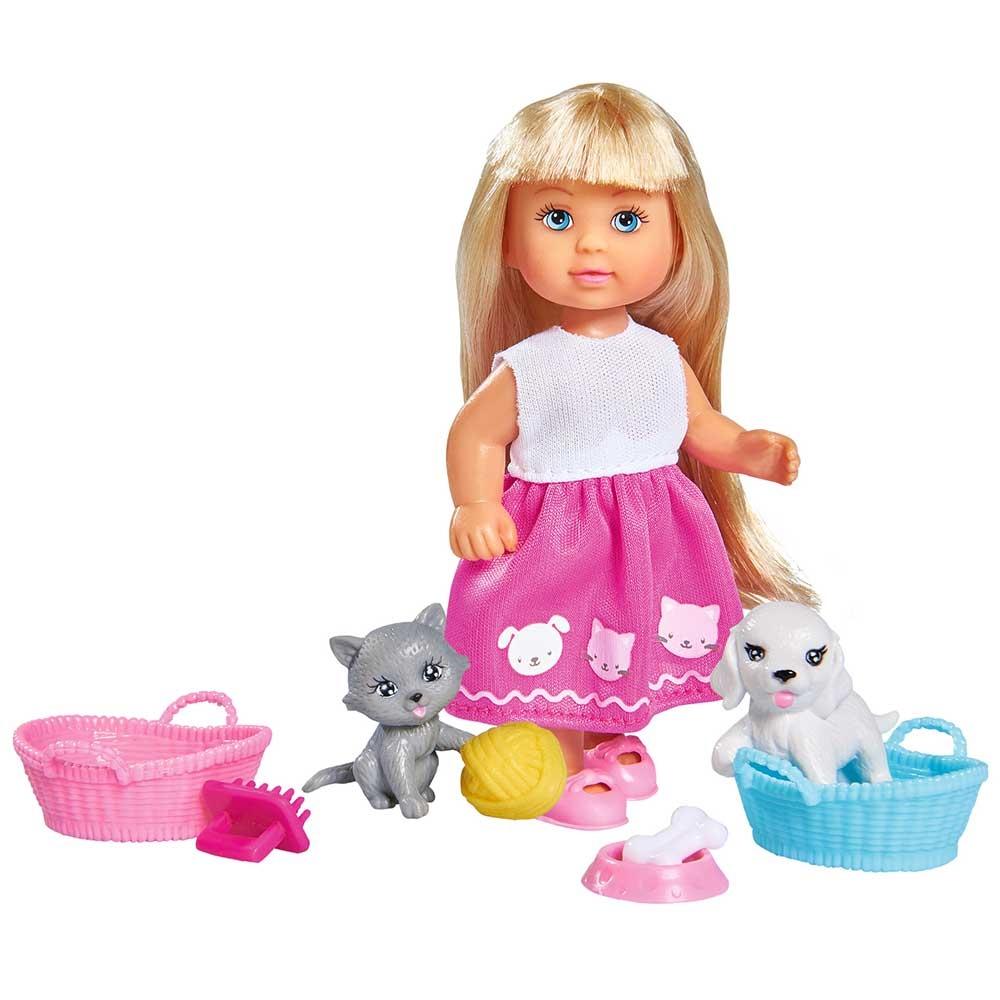 Papusa Simba Evi Love Dog & Cat papusa 12 cm cu catel, pisica si accesorii